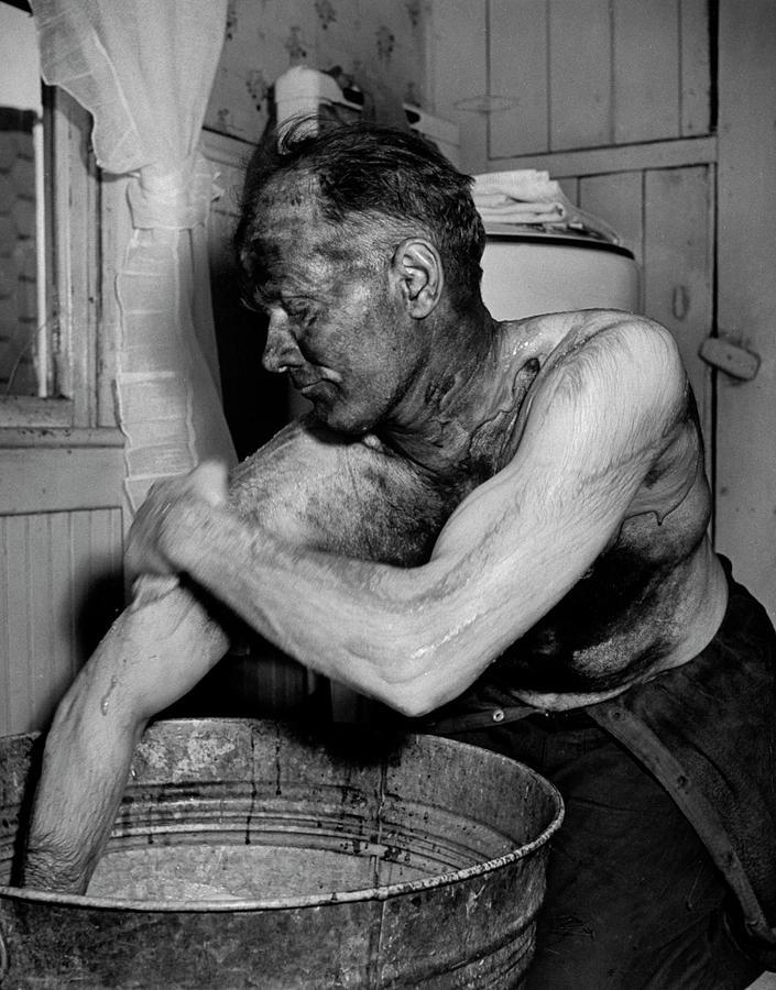 Coal Miner Mabrey Evans Scrubbing His Ar Photograph by Alfred Eisenstaedt