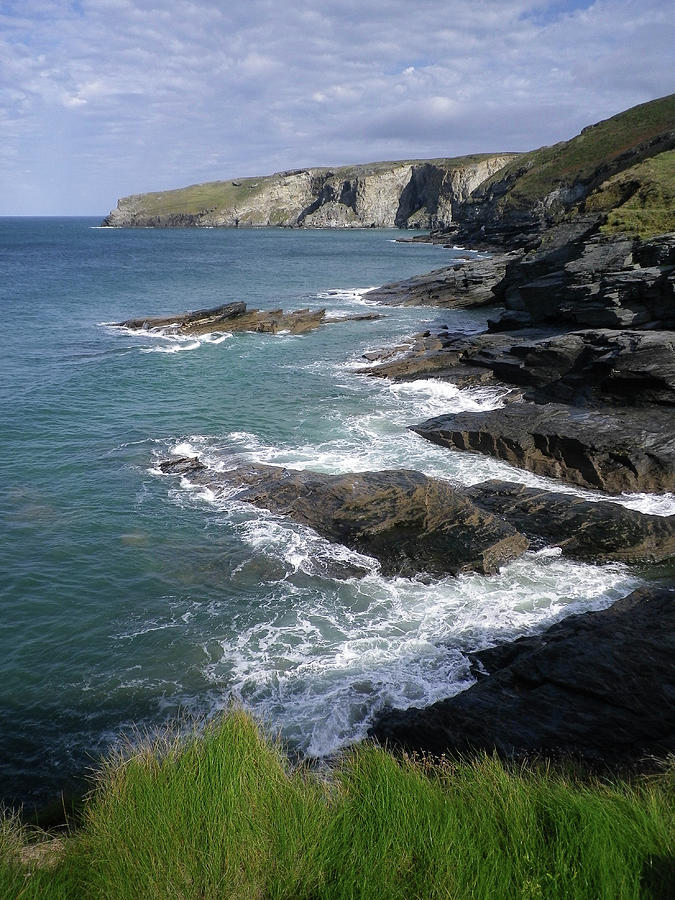 Strand Photograph - Coast From Trebarwith Strand Cornwall by Richard Brookes