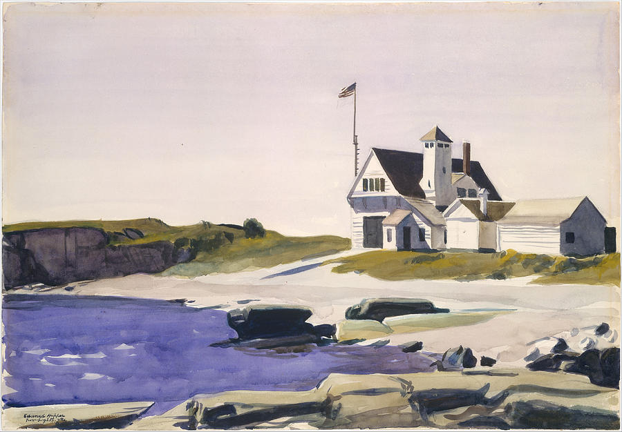 Edward Hopper Painting - Coast Guard Station  Two Lights  Maine  by Edward Hopper