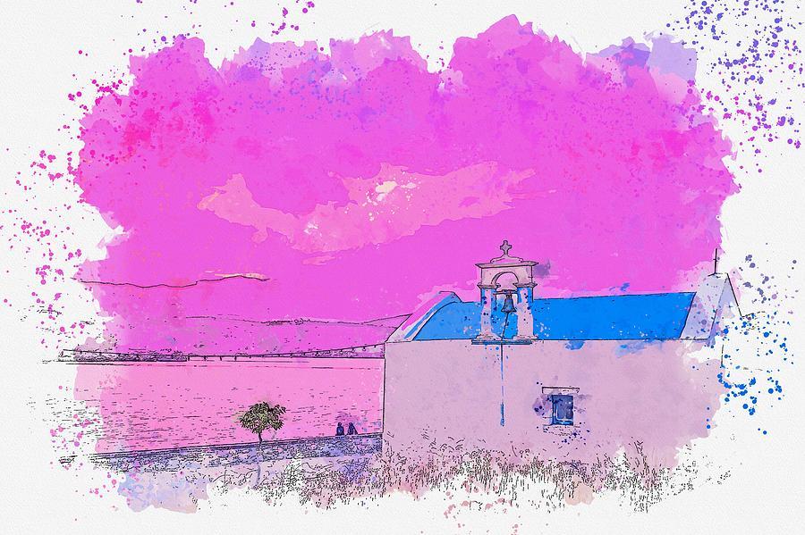 Coastal Church -  Watercolor By Adam Asar Painting