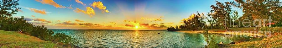 Beach Photograph - Coastal view at sunset. Mauritius. Panorama by MotHaiBaPhoto Prints