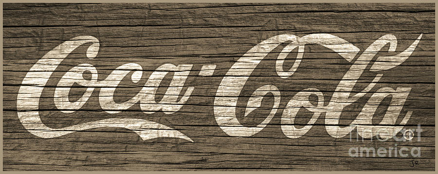 Coca Cola Sign On Taupe Weathered Wood Grain by John Stephens