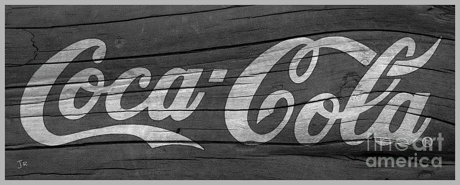 Coca Cola Sign On Weathered Wood Black And White by John Stephens