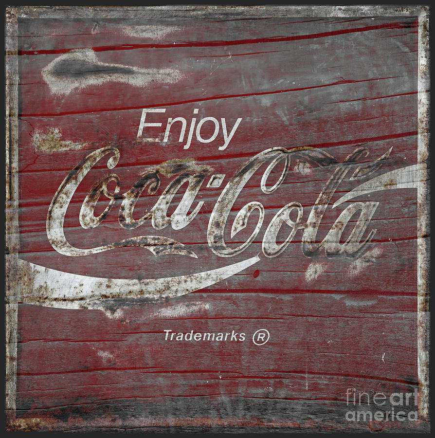 Coca Cola Weathered Wood Photograph