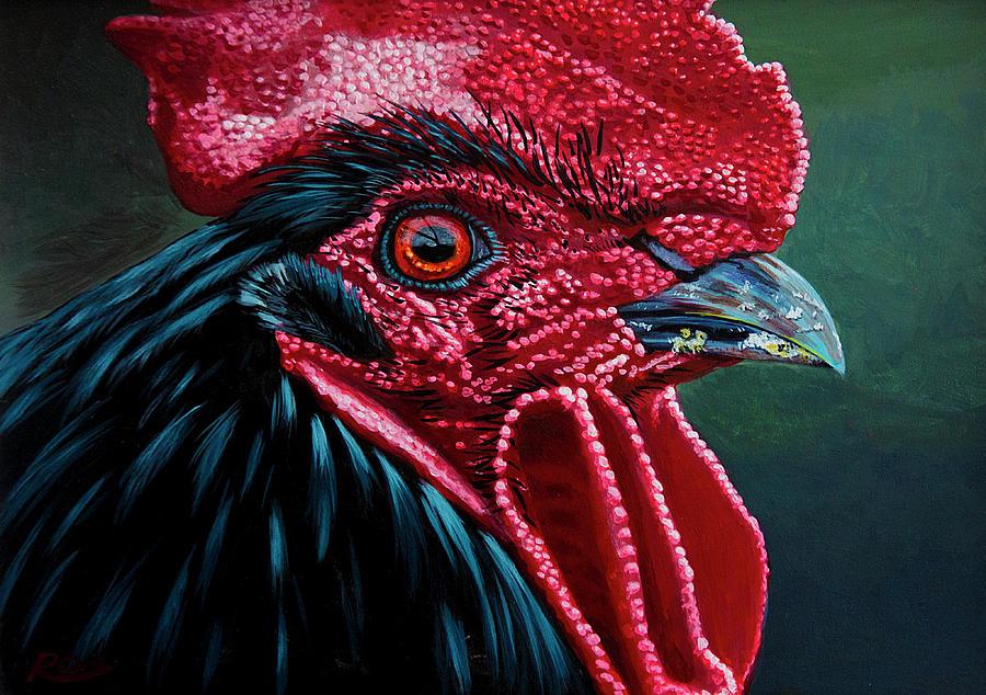 Cockerel Painting - Cockerel by Raymond Ore