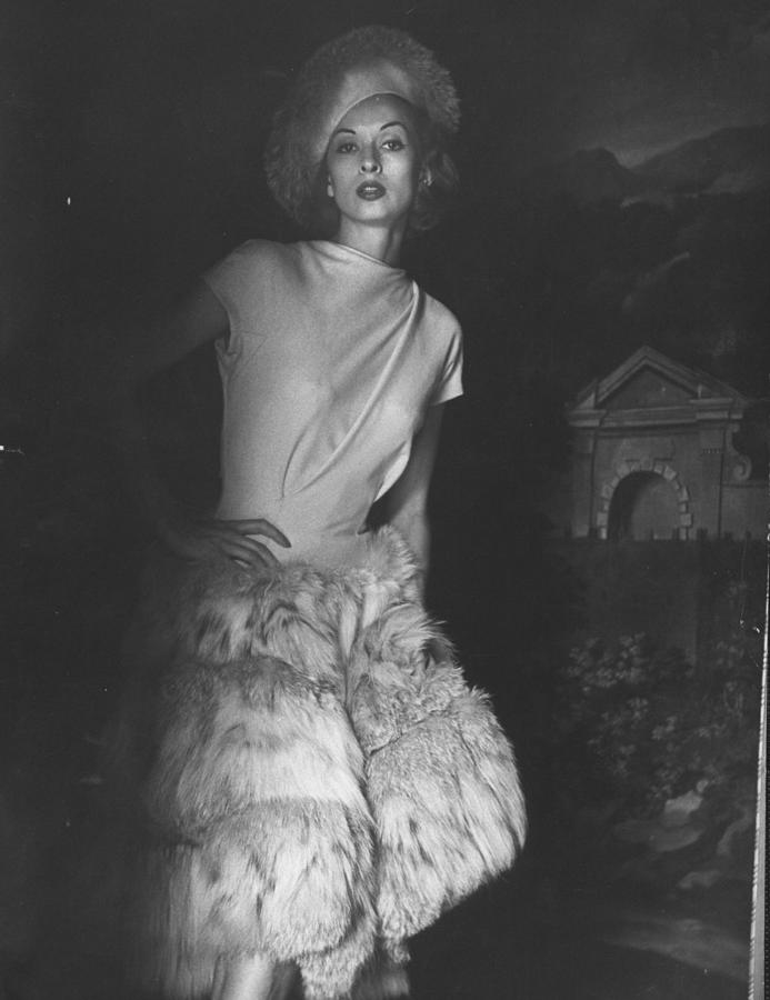 Cocktail Dress With Fur Skirt And Matchi Photograph by Gordon Parks