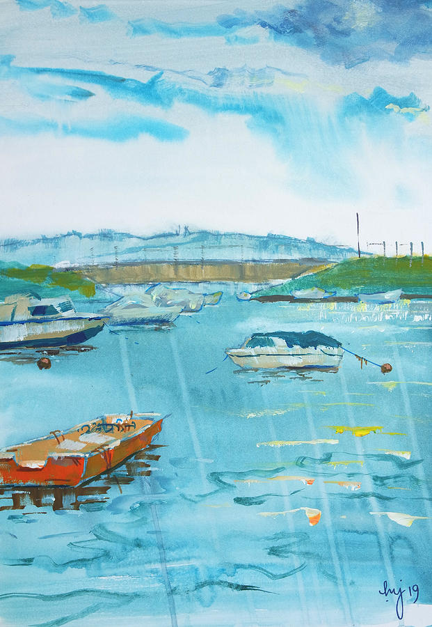 Cockwood Harbour near Starcross in Devon Painting by Mike Jory