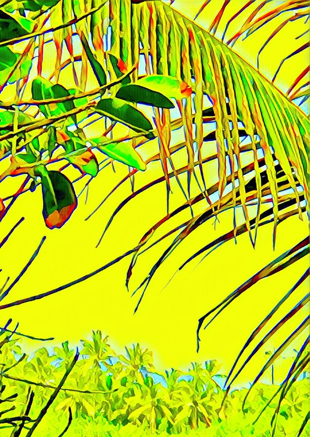 Coconut Fronds Yellow Ahalanui  by Joalene Young