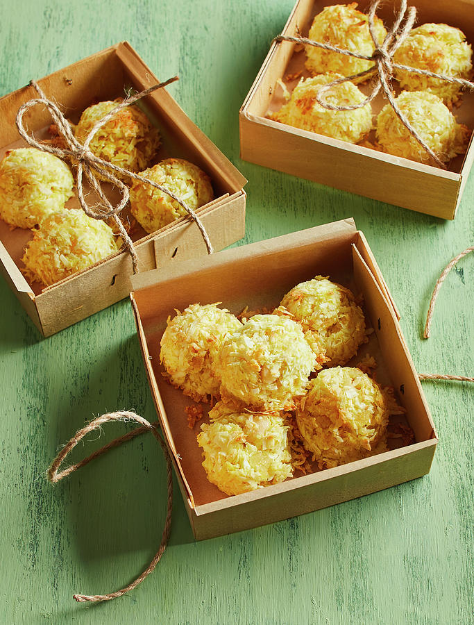 Coconut Macaroon Gift Box Photograph By Cuisine At Home