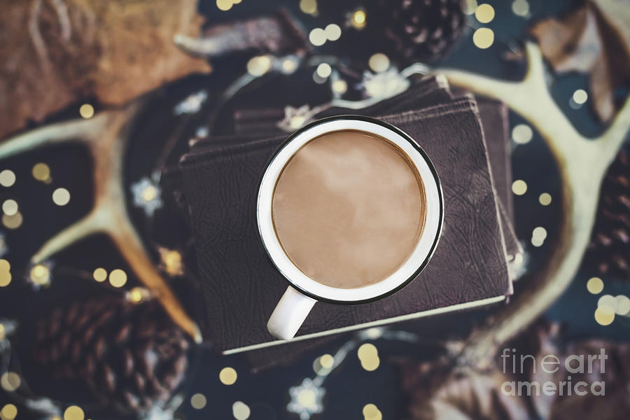 Coffee and Books in Autumn by Stephanie Frey
