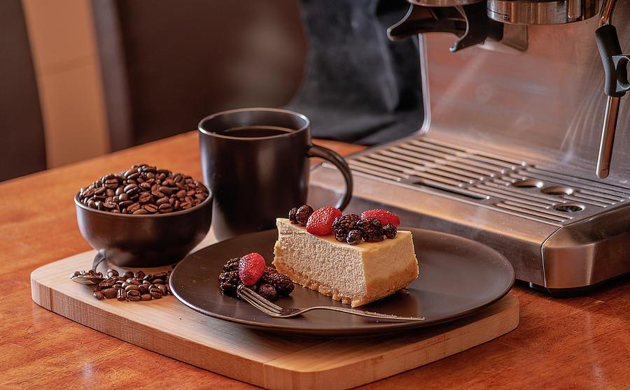 Dessert Photograph - Coffee And Cheesecake by Mark Vegera