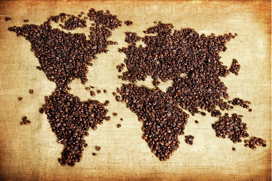 Coffee Beans Map Photograph by Lisegagne
