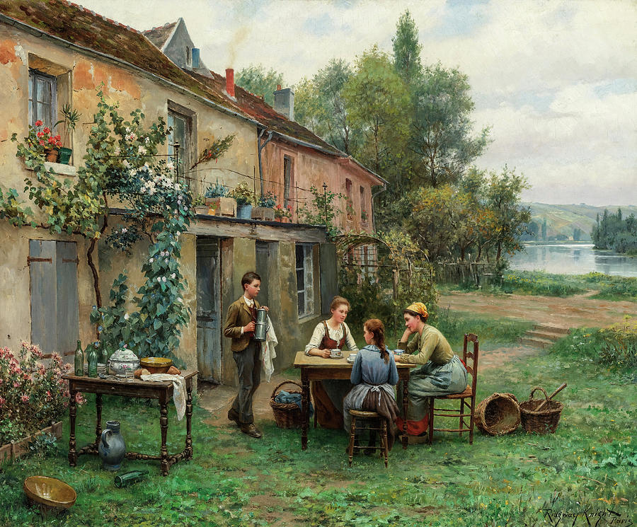 Daniel Ridgway Knight Painting - Coffee In The Garden, 19th Century by Daniel Ridgway Knight