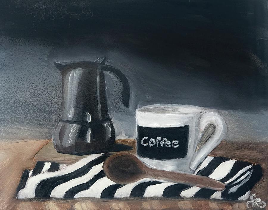 Coffee Time Painting by Fe Jones