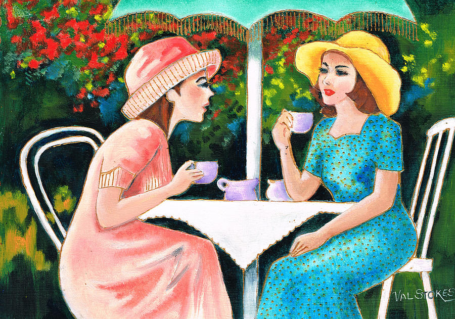 Drinking Coffee Painting - Coffee Time by Val Stokes