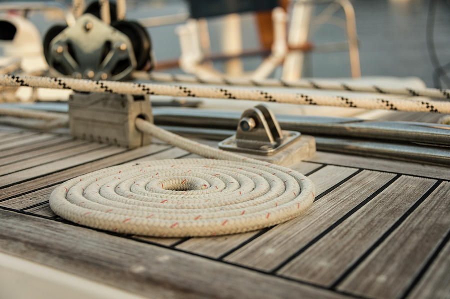 Coiled Line, Rope, On Teak Deck Of 62 Photograph by Gary S Chapman