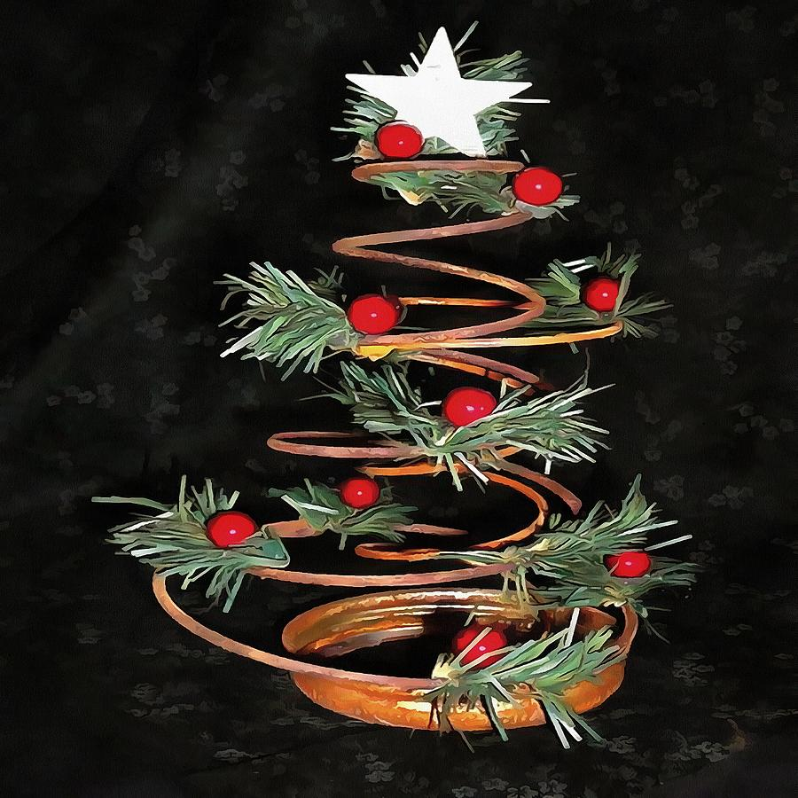 Acrylic Christmas Tree Painting.Coiled Spring Bespoke Christmas Tree Isolated On Black
