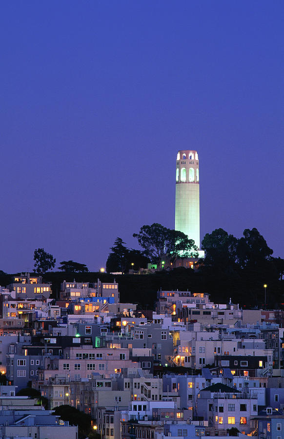 Coit Tower, Telegraph Hill At Dusk, San Photograph by Thomas Winz