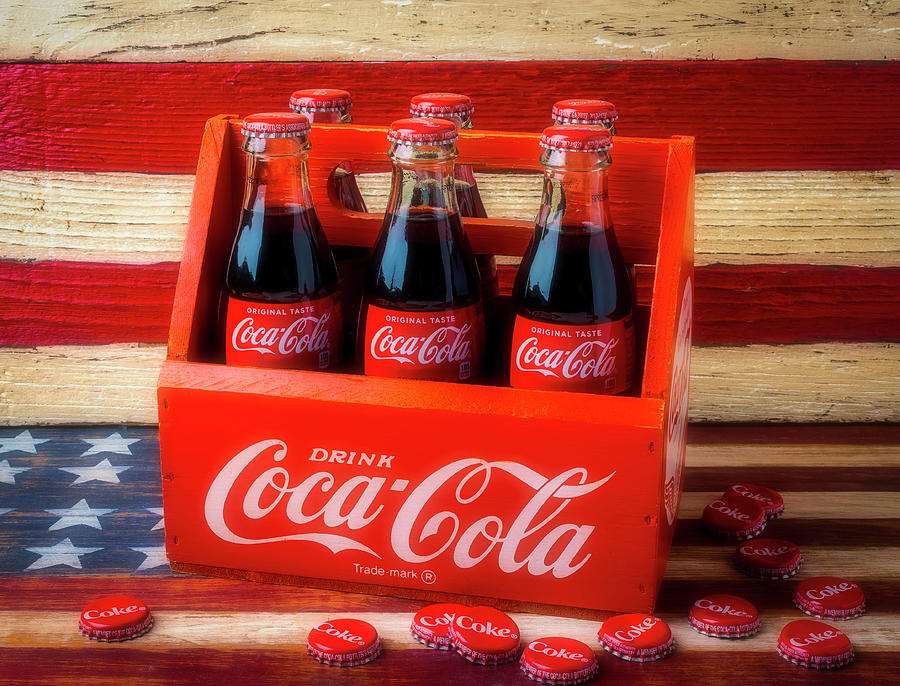 Six Photograph - Coke And American Flag by Garry Gay