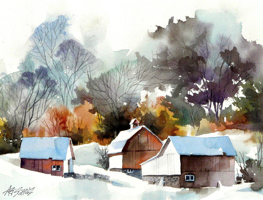 Cold Barns Painting by Art Scholz