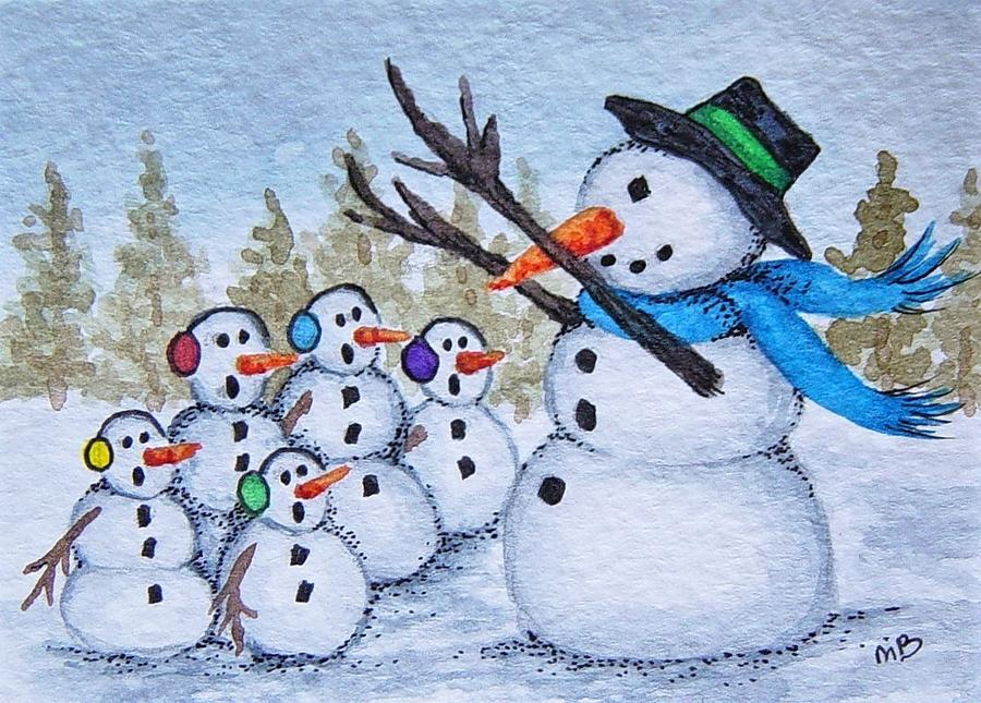 Snowman Painting - Cold Choir by Michele Bolling