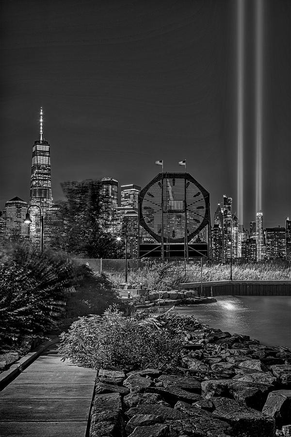Colgate Clock WTC 911 Tribute In Lights BW by Susan Candelario