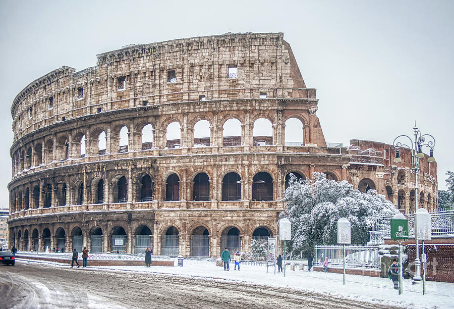Colosseo Photograph - Coliseum - Snow and Winter by Stefano Senise