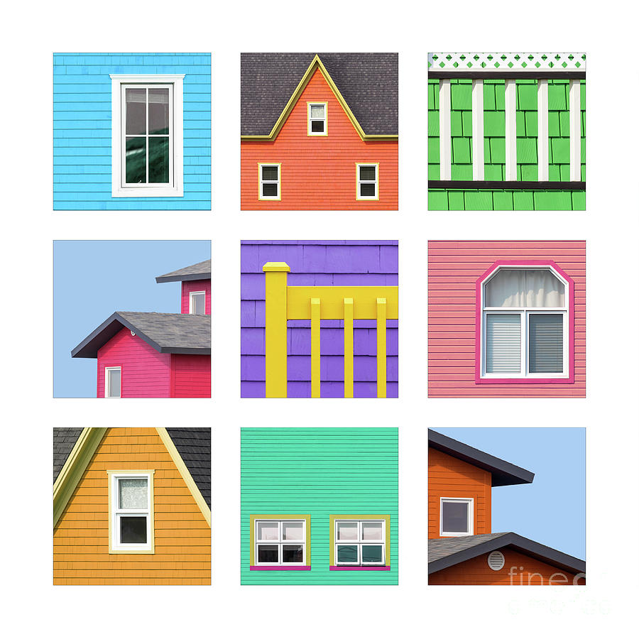 Collage of details of the colourful houses of the Magdalen Islan by Jane Rix