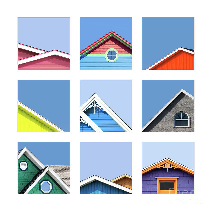 Collage of the rooftops of the Magdalen Islands by Jane Rix