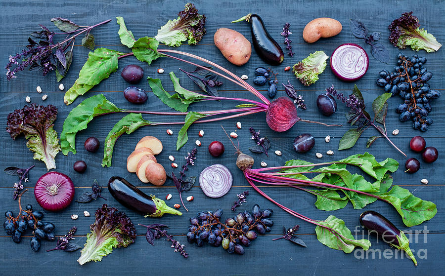 Salad Photograph - Collection Of Fresh Purple Fruit And by Kateryna Sednieva