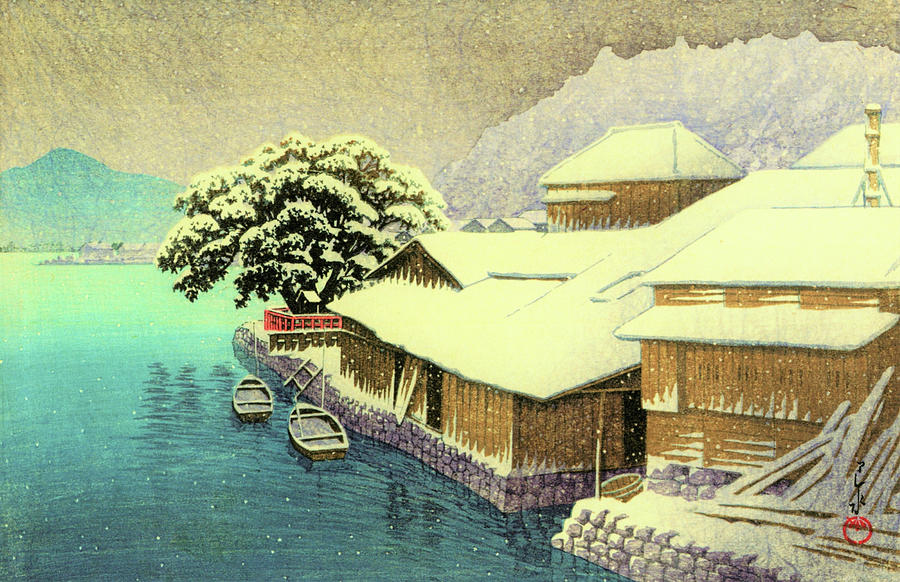 Ukiyoe Painting - Collection Of Scenic Views Of Japan, Eastern Japan Edition, Ishinomaki In Snow by Kawase Hasui