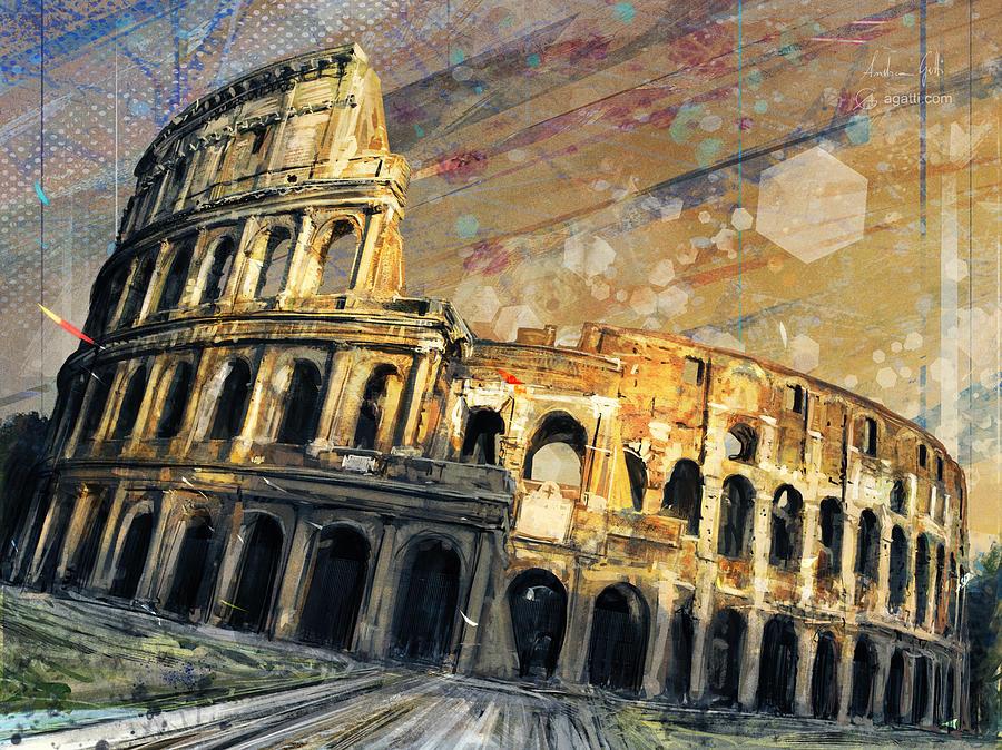 Colosseo Tramonto Digital Art
