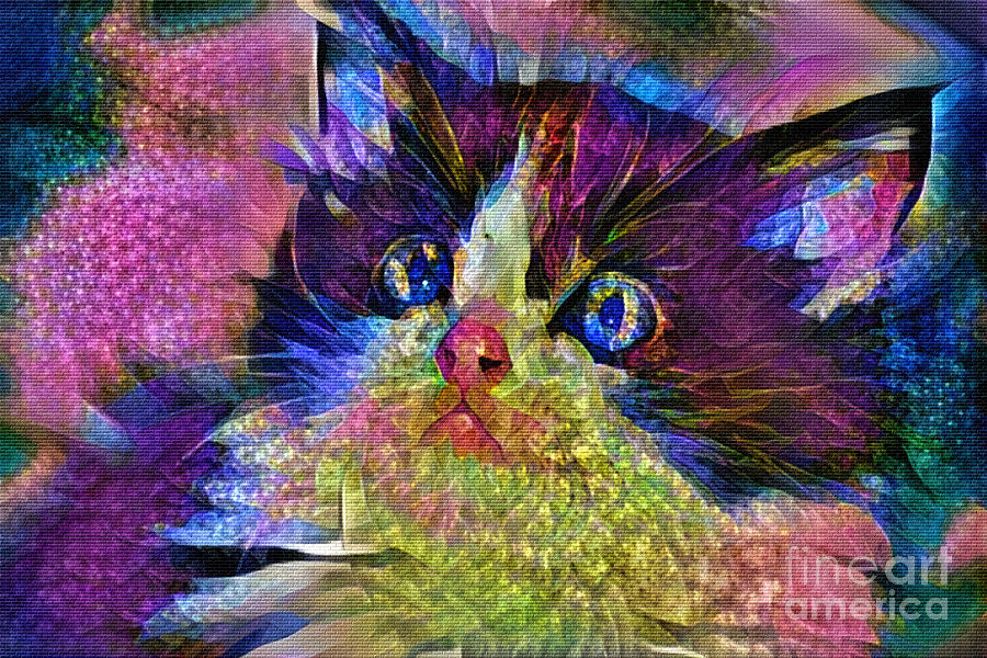 Colorful Kitten Art 2 by Kaye Menner by Kaye Menner