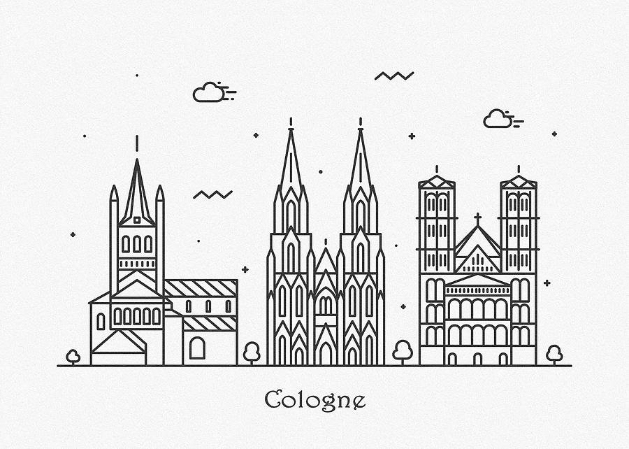 Cologne Drawing - Cologne Cityscape Travel Poster by Inspirowl Design