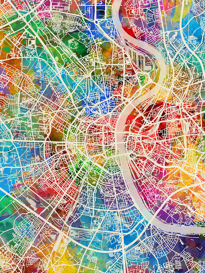 Cologne Digital Art - Cologne Germany City Map by Michael Tompsett