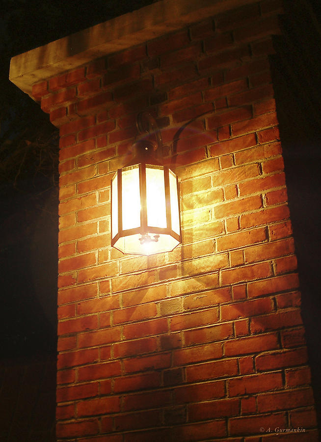 Colonial Brick Wall and Street Lamp by A Gurmankin
