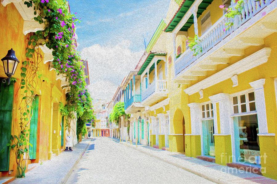 Colonial Street - Cartagena de Indias, Colombia Digital Art by Kenneth Montgomery