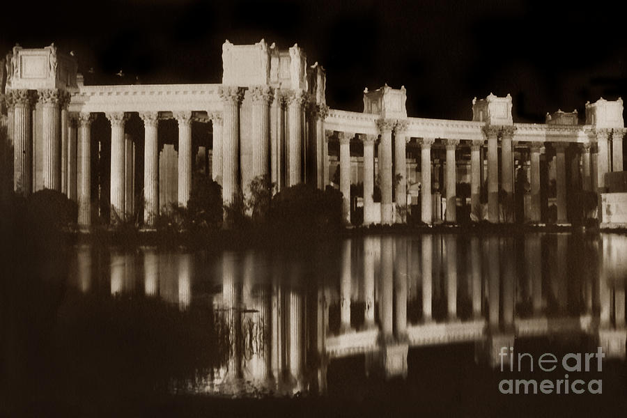 Colonnades at night- Palace of Fine Arts at the Panama Pacific I by California Views Archives Mr Pat Hathaway Archives