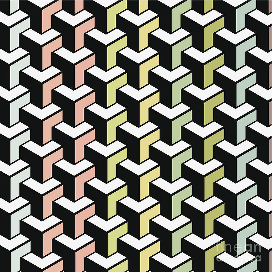 Color Abstract Geometry Shape Background Digital Art by Naqiewei