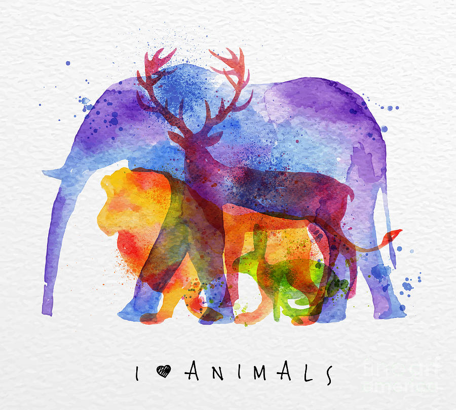 Symbol Digital Art - Color Animals ,elephant, Deer, Lion by Anna42f