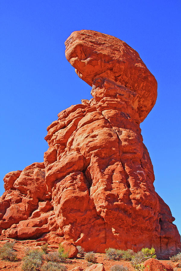 Colorado Arches Spire Scrub Dinosaur Rock? Scrub Blue Sky 3325 Photograph by David Frederick