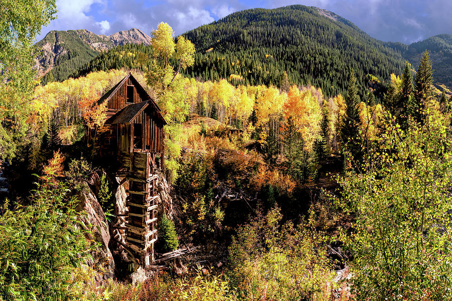 Colorado Autumn at Crystal Mill  by OLena Art - Lena Owens