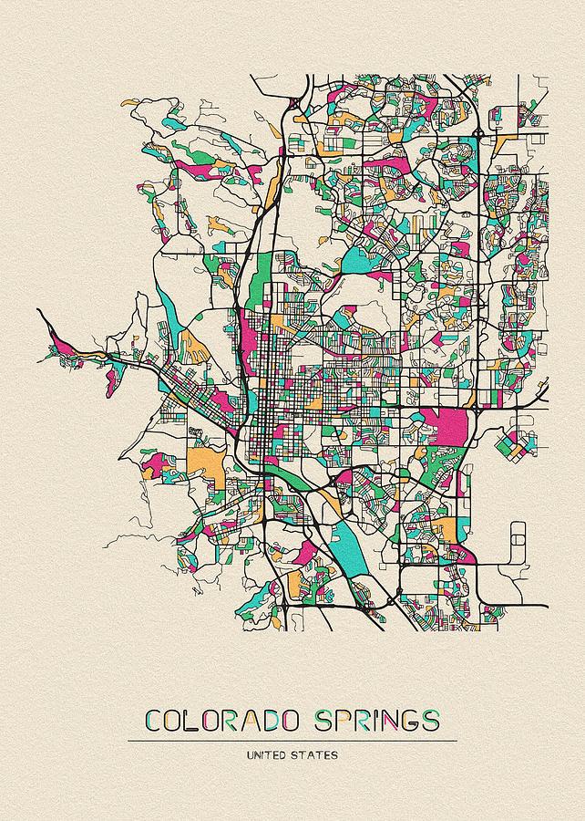 Colorado Springs Digital Art - Colorado Springs, Colorado City Map by Inspirowl Design