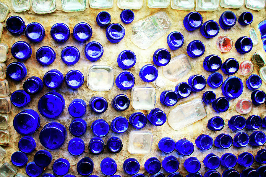 Colored Glass Bottle Wall 2 by Cynthia Guinn