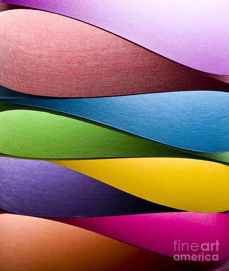Curl Photograph - Colored Paper Background Stacked In by Steve Collender