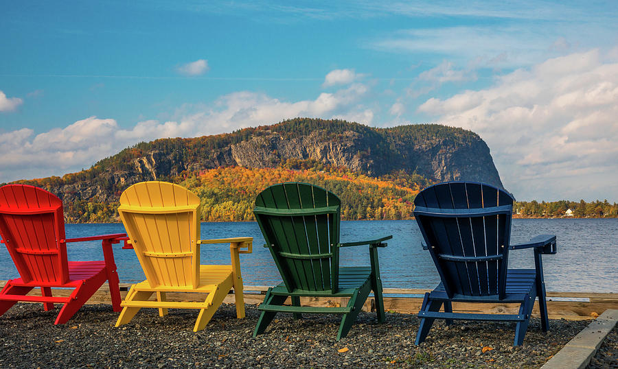 Adirondack Chairs Photograph   Colorful Adirondack Chairs On Moosehead Lake  By Dan Sproul