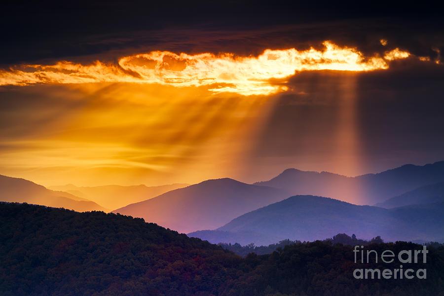 Country Photograph - Colorful Autumn Sunrise Over The Smoky by Dean Fikar