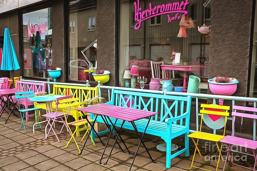 Colorful Cafe in Svolvaer by Eva Lechner