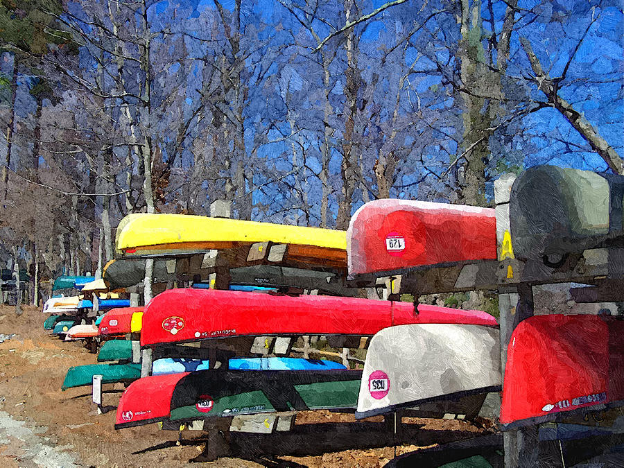 Colorful Canoes Awaiting Spring by Sandi OReilly