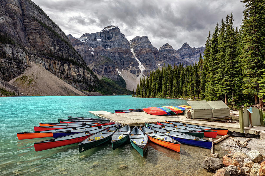 Moraine Lake Photograph - Colorful Canoes Of Moraine Lake by Pierre Leclerc Photography